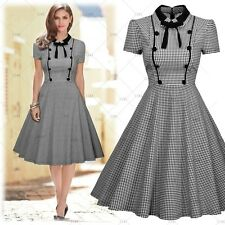 Women's Vintage 1950s Cocktail Evening Party Bussiness Work Check Pleated Dress