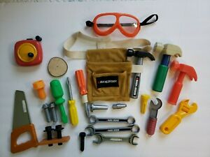 Child's Plastic Tools Pouch Goggles Hammer Saw Screwdriver Measuring Tape Wrench