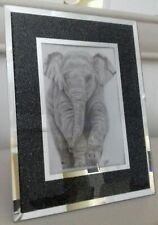 """ELEPHANT BABY CALF Picture of Original Animal Drawing 6 x 4"""" Glossy Photo Print"""