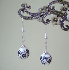 Black and White Flower Porcelain Bead Dangly Earrings