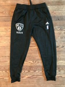 Brooklyn Nets Men's Large L Adidas Game Warmup NBA Pants - Black