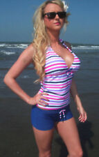 Boyshorts Strappy, Spaghetti Strap Striped Swimwear for Women