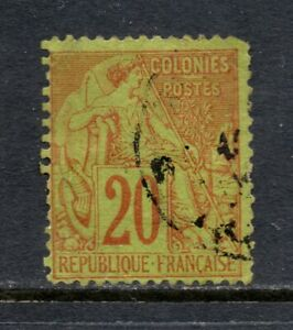 French Colonies # 52, Used, F, 20c Commerce, 1881, Hand-Stamped CDS Cancel