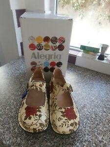 Alegria PG Lite boxed ladies Mary Jane shoes EU 39 UK 6 Cream floral