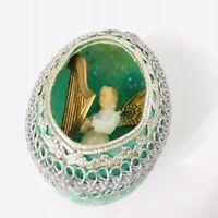 Diorama Angel Christmas Ornament Vintage Egg Shape Mica Ribbon Aqua Blue