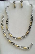 Brighton Champagne silver gold necklace bracelet earrings set lot in pouch B88