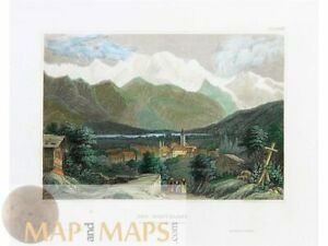 French-Italian old prints Mont Blanc Alps by Meyer 1838