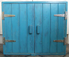 TURQUOISE SOLID WOOD WALL CUPBOARD SILVER HINGES SHABBY CHIC HANDMADE
