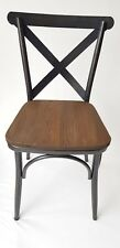SET OF 2 BORDEAUX CROSS BACK WITH WOOD CHAIR SANDED BLACK BRUSH RUSTY GOLD
