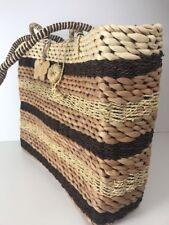 XOXO Shopper Tote Heavy Duty Woven Straw Bag  Bag Striped Boho Tan Brown Purse