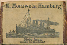 c1920 Canvas Ticket Passpart Wallet, M. Morawetz, Hamburg Ship,Polish/German/Rus