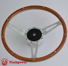 "14"" Classic Riveted Wooden Steering Wheel Custom Ford Mustang Shelby AC Cobra"