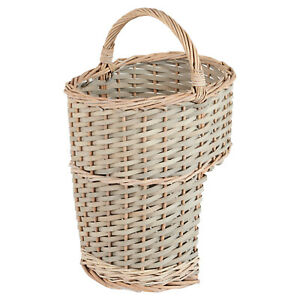 Hartleys Grey Oval Wicker Stair Storage Basket with Handle Step Tidy/Organiser