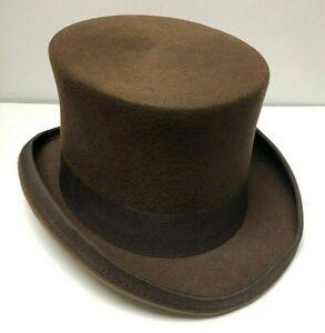 VINTAGE Wool Felt Kids Top Hat Child Topper Boys Tuxedo Party NEW | 52cm | Brown