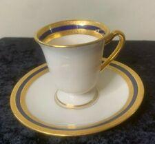 Lenox China Cup and Saucer Set Cobalt Gold Ivory P72