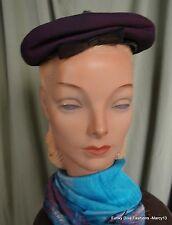 Chic Vintage 50's 60's  Purple Fabric Pillbox Hat w Vinyl Trim & Bow One Size