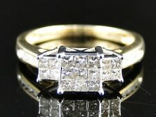 10K Ladies Yellow Gold 3 Stone Princess Diamond Engagement Wedding Ring 1/2 Ct