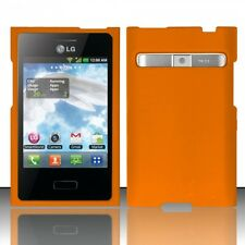 For LG Optimus Dynamic L38G Rubberized HARD Case Snap On Phone Cover Orange
