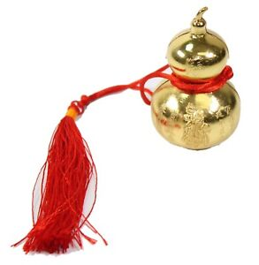 """Feng Shui 2"""" Hanging Gold Calabash Ornament Wealth Good Luck Fortune Home Decor"""