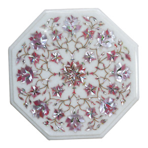 12 x 12 Inches Marble End Table Top Inlay Side Table with Pink Mother of Pearl