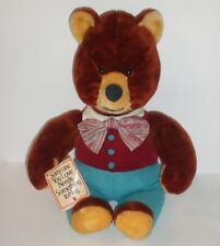 Vintage Rushton Teddy Bear Stuffed Plush Hug Stuffed Animal Bow Tie 1982 New Tag