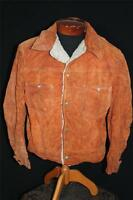 VINTAGE 1960'S-1970'S RUST ORANGE HEAVY SUEDE  SNAP JACKET SIZE LARGE