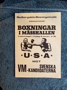 1978 ORIGINAL  USA VS SWEDEN BOXING PROGRAM WORLD CUP CANDIDATES
