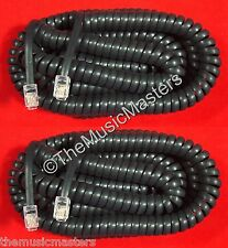2X Black 25' ft Telephone Handset Receiver 4P4C Coil Cable Curly Cord Wire VWLTW