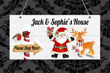 Personalised Unique Christmas Santa Stop Here Sign Plaque Gift Present Xmas