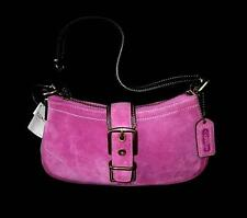 NWT COACH PUNCH PINK FINEST SUEDE LEATHER BUCKLE DEMI SHOULDER BAG PURSE 8E89