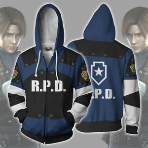Resident Evil RPD STARS Raccoon Hoodies Sweatshirt Jacket Cosplay Zipper Coat