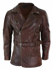 Men Cross Belted Timber Brown 3/4 Motorcycle Biker Long Leather Jacket CE Armour