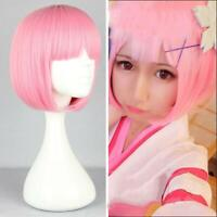 Women's BOB Wig Full Straight Bangs Cosplay Party Lady Hair T1M2 Short PINK D0W3