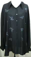 MAGGIE BARNES Size 24W New With tags Black Blouse with Embroidered Detail