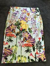 Darling Aoifie Sky Blue Textured Floral Pencil Skirt Size 10 BNWT