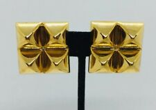 Hermes Paris Vintage Yellow Gold Plated Medor Square Clip Earrings