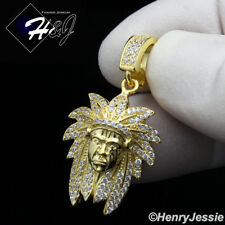 MEN 925 STERLING SILVER LAB DIAMOND BLING GOLD AMERICAN INDIAN PENDANT*GP186