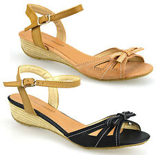 Ladies Womens New Low Wedge Heel Casual Ankle Strap Bow Trim Sandals Shoes Size