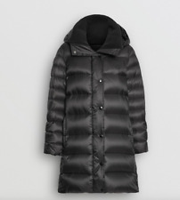 Burberry Women Strettingham Shearling Down Hood Puffer Coat Sz Medium Black NWT!