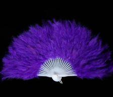 "MARABOU FEATHER FAN - ROYAL BLUE Feathers 12"" x 20"" (Burlesque/Halloween/Bridal)"