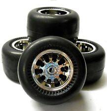 HS211517FR 1/10 Slicks Tamiya Caravan Monster Truck RC Wheels Tyres Chrome x 4