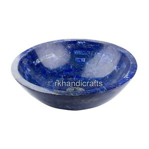 12 Inches Marble Counter Top Sink Blue Stone Vessel with Random Work Home Assent