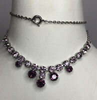 1950s Glass Necklace Bib Style Amethyst Coloured Jewellery Jewelry Vintage Retro