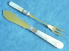 Antique Victorian Carved Mother of Pearl Handle Silver Plate Knife & Fork Lot