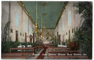 Interior Santa Barbara Mission CA California Vintage Postcard Berkey McGuire