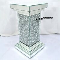 Pillar Mirrored Crushed Diamond Crystal Side End Table Stand Mirror Glitz uk