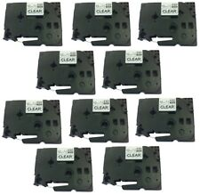 10PK Black on Clear Label Tape TZ-131 for Brother TZe131 P-Touch PT-D210 12mm 8m