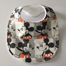 Handmade Baby Bib ~ Mickey Mouse Block Print