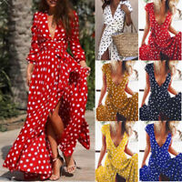 Womens Summer V Neck Polka Dot Long Dress Wrapped Lace Up High Slit Maxi Dresses