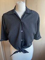 La Riviera Vintage 1950s Style Black White Polka Dot Tie Front Blouse Small